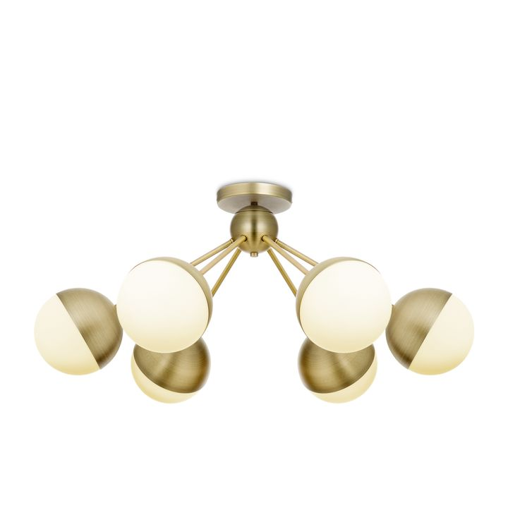 Powell 6-Light Semi-Flush with White Globes, Aged Brass