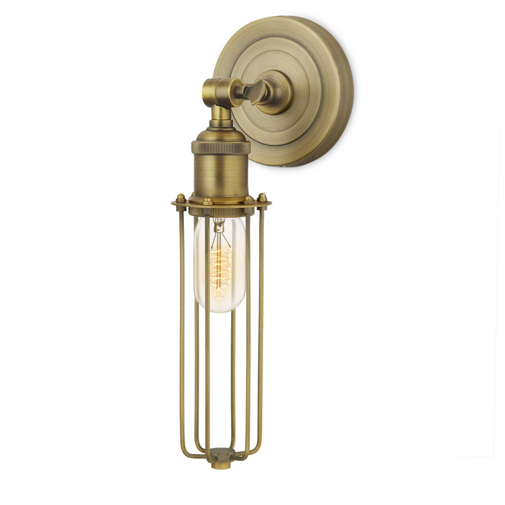 Alton Wall Sconce with Slim Cage, Aged Brass