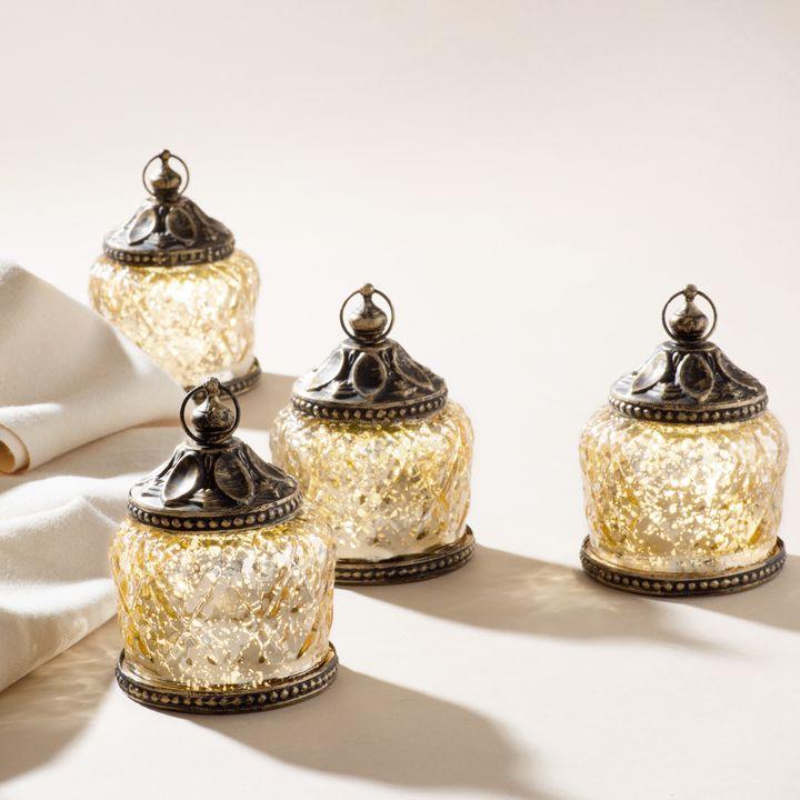 Amira Mini LED Mercury Glass Lanterns, Set of 4