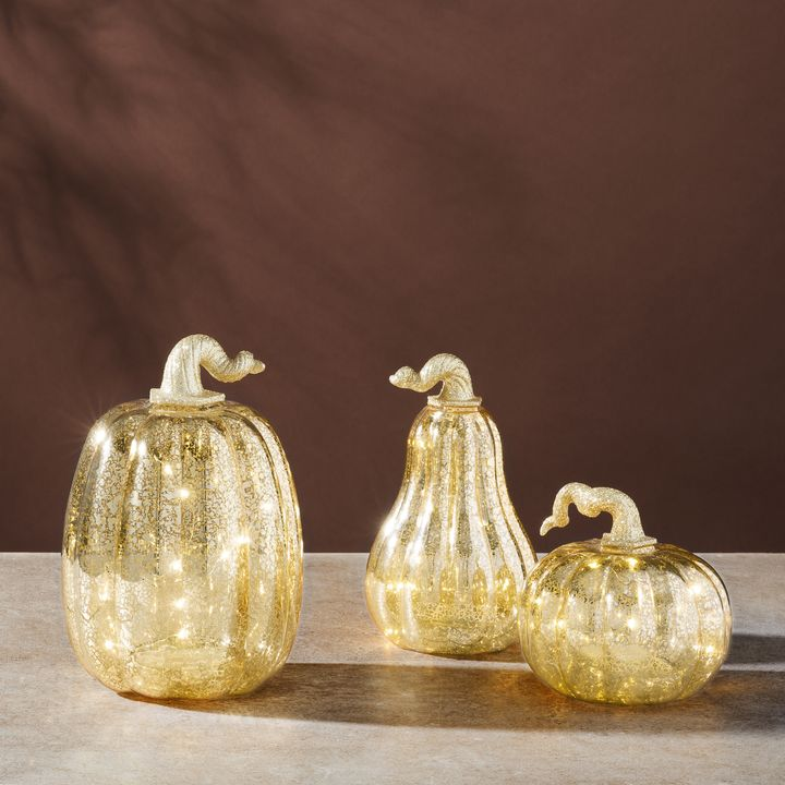 Gold LED Pumpkins with Mercury Glass Finish, Set of 3
