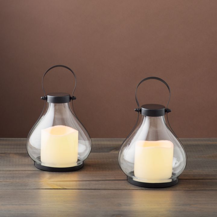 Montauk Black Mini Teardrop Glass Lanterns, Set of 2