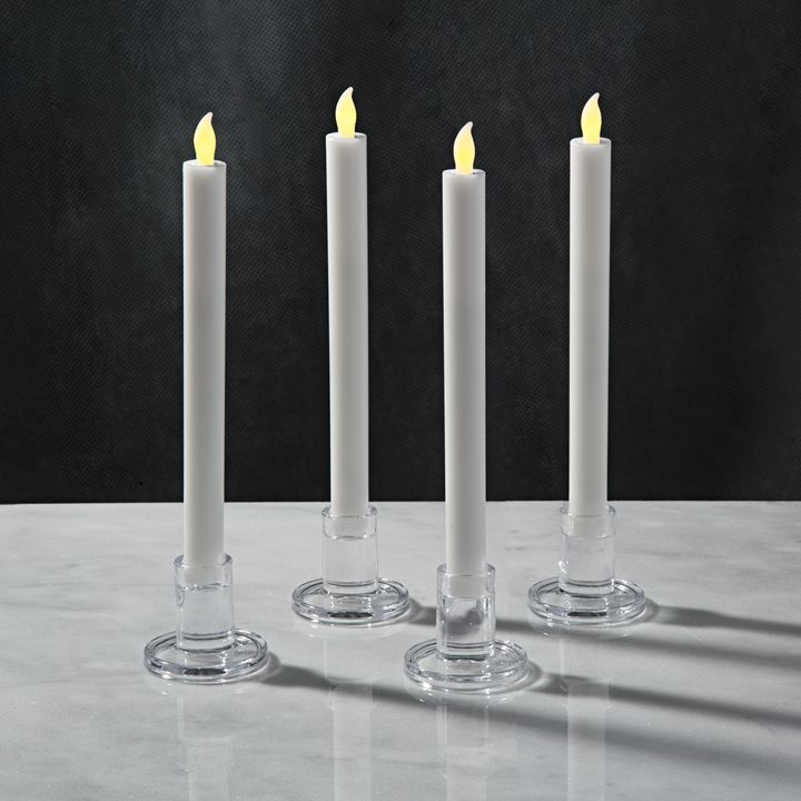 Verrea Clear Taper Candle Holders, Set of 4