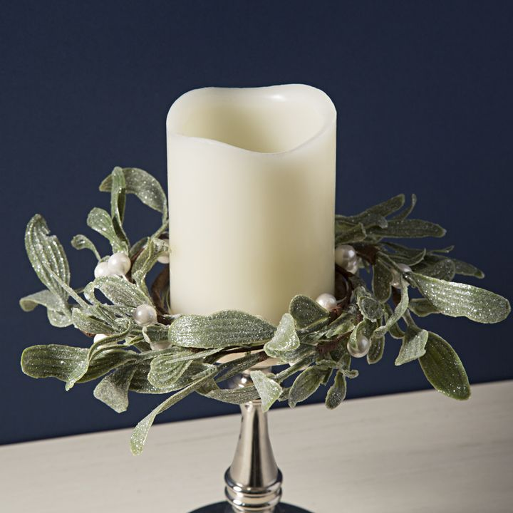 Frosted Mistletoe Pillar Candle Rings, Set of 3