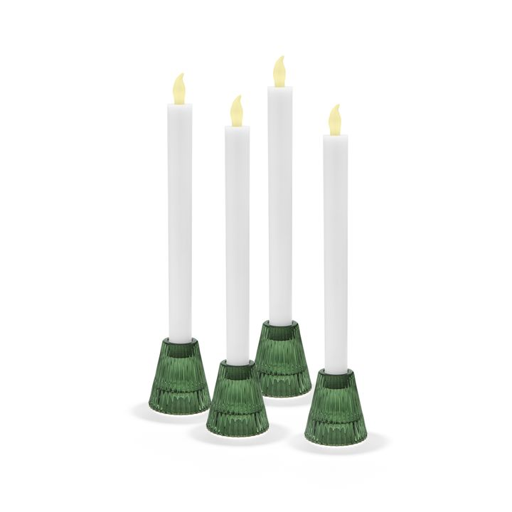 Lucida Reversible Green Candle Holders, Set of 4