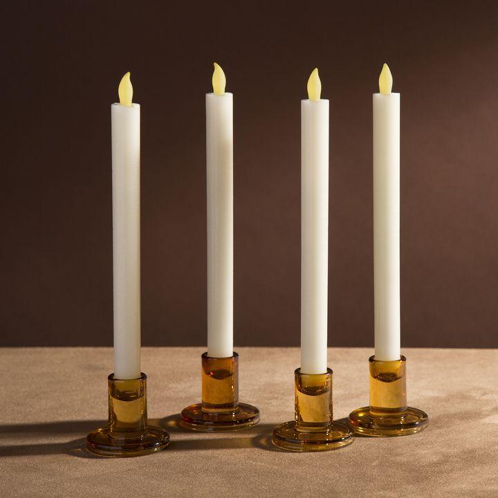 Verrea Amber Taper Candle Holders, Set of 4