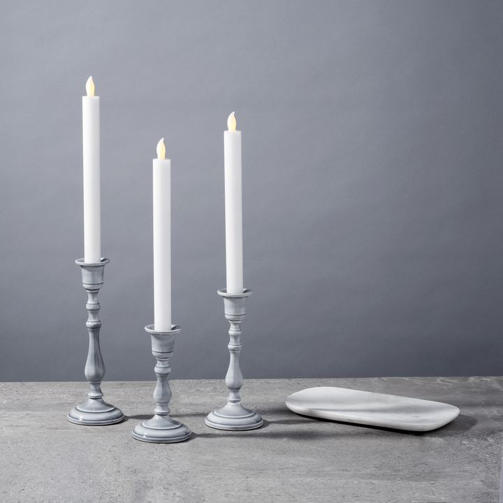 Magnolia Gray Taper Candle Holder, Large