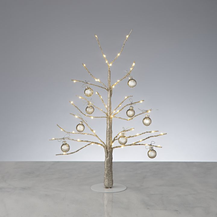 "Glittering LED-Wrapped Wintry Tree, 18"" with Antique Glass Ball Ornaments"