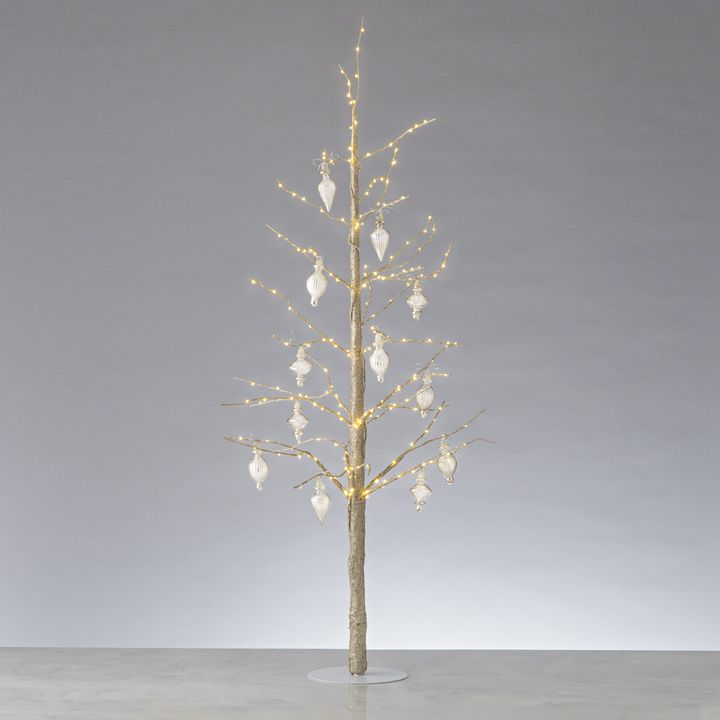 "Glittering LED-Wrapped Wintry Tree, 48"" with Antique Glass Finial Ornaments"