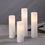 Oriana Slim White Flat-Top Pillar Candles, Set of 4