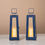 Nantucket Blue Medium Solar Metal Lantern - Set of 2