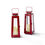 Madaket Red Medium Solar Metal Lantern, Set of 2