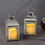 Cherish Silver Metal Lantern with Flameless Candle, Set of 2