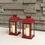 "Chelsea Solar 11.5"" Red Metal Flameless Lantern, Set of 2"