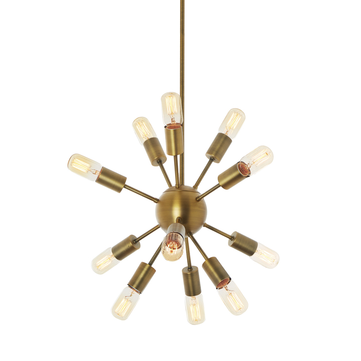 12-Light Aged Brass Sputnik Chandelier