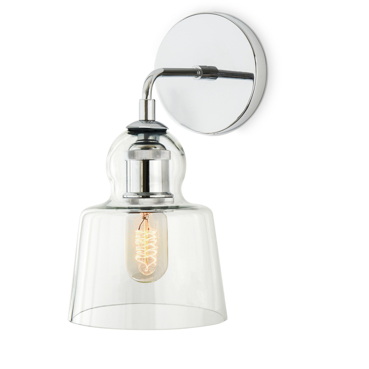 Alton Wall Sconce with Tapered Bell Glass, Chrome