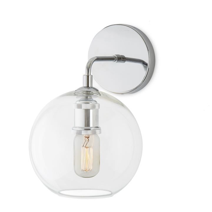 Alton Wall Sconce with Clear Globe, Chrome
