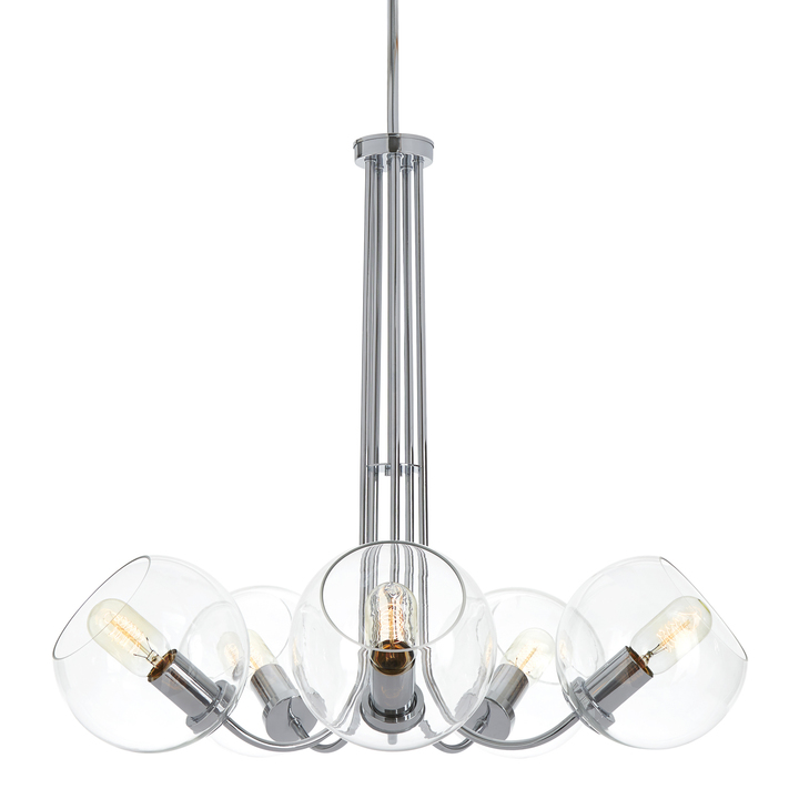Celeste 5-Light Chandelier with Clear Globes, Chrome