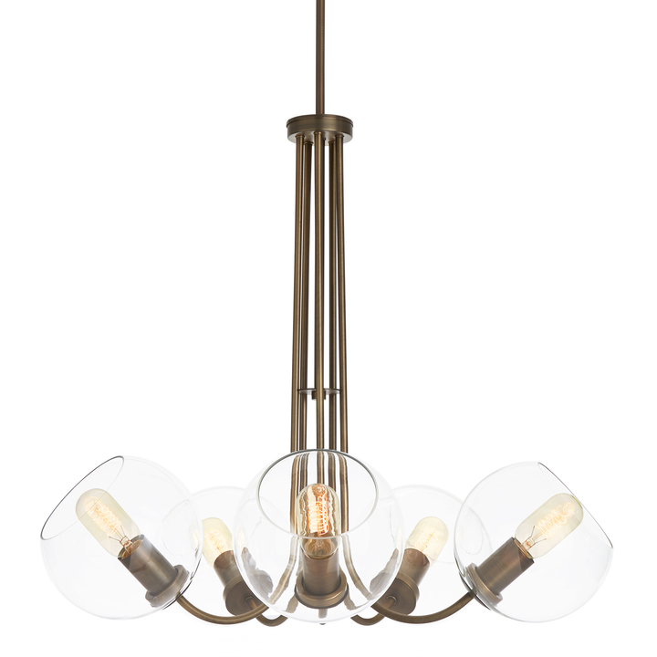 Celeste 5-Light Chandelier with Clear Globes, Bronze
