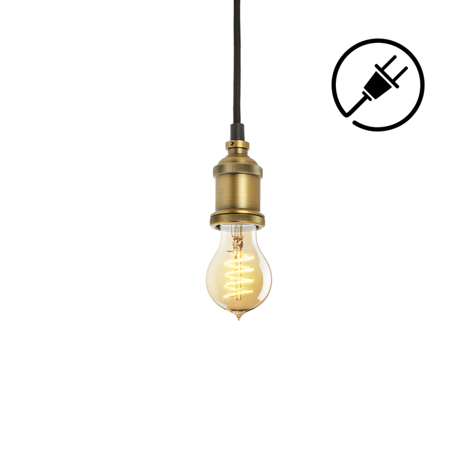 Alton Plug-In Pendant, Aged Brass