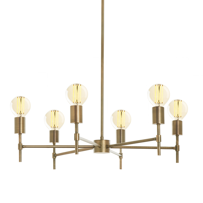 Prospect 6-Light Round Chandelier, Aged Brass