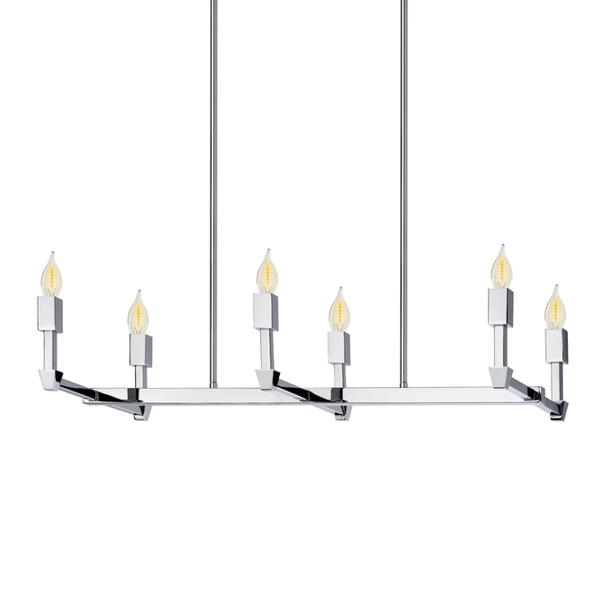 Kingston 6-Light Rectangle Chandelier, Polished Nickel
