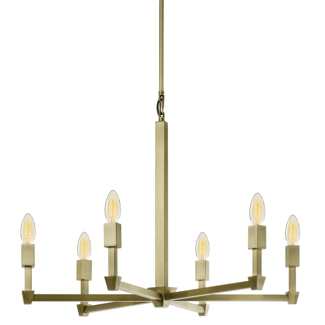 Kingston 6-Light Round Chandelier, Aged Brass