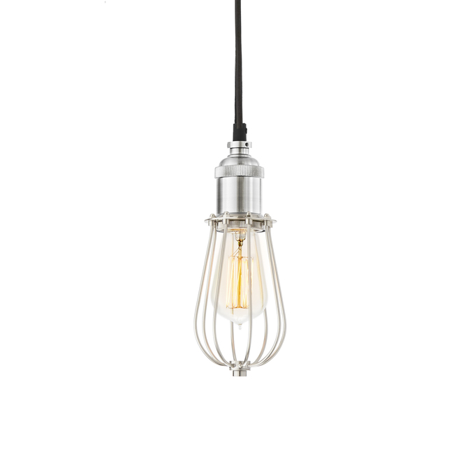 Alton Pendant with Edison Raindrop Cage, Satin Nickel