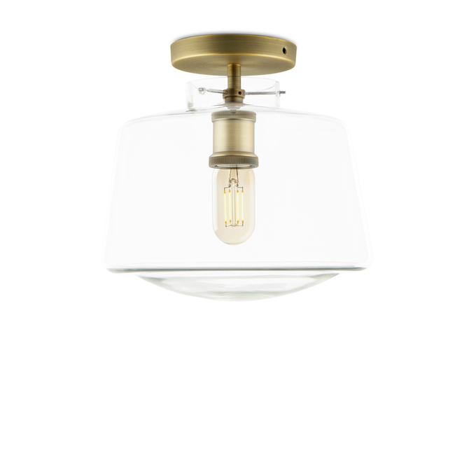 Alton Flush Mount with Schoolhouse Glass, Aged Brass