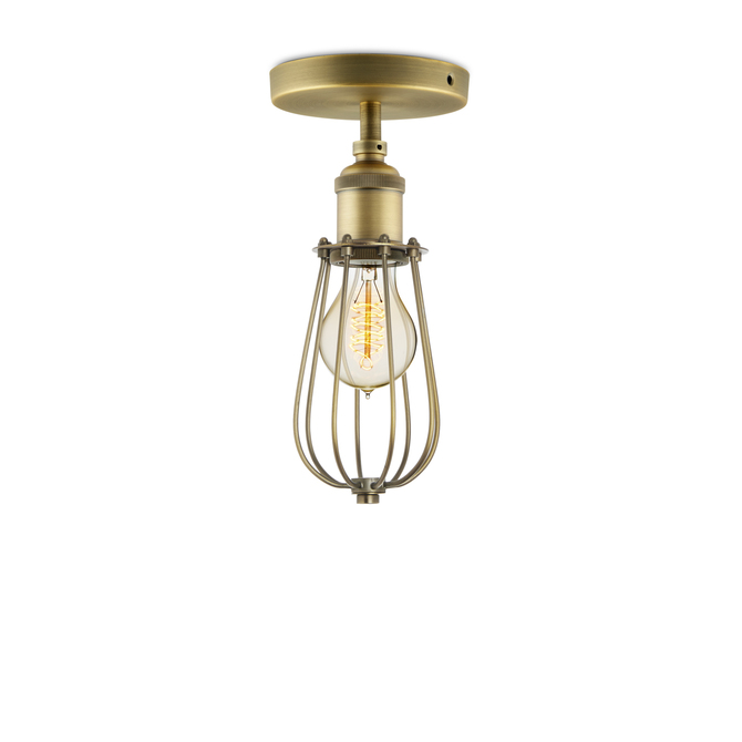 Alton Flush Mount with Raindrop Cage, Aged Brass