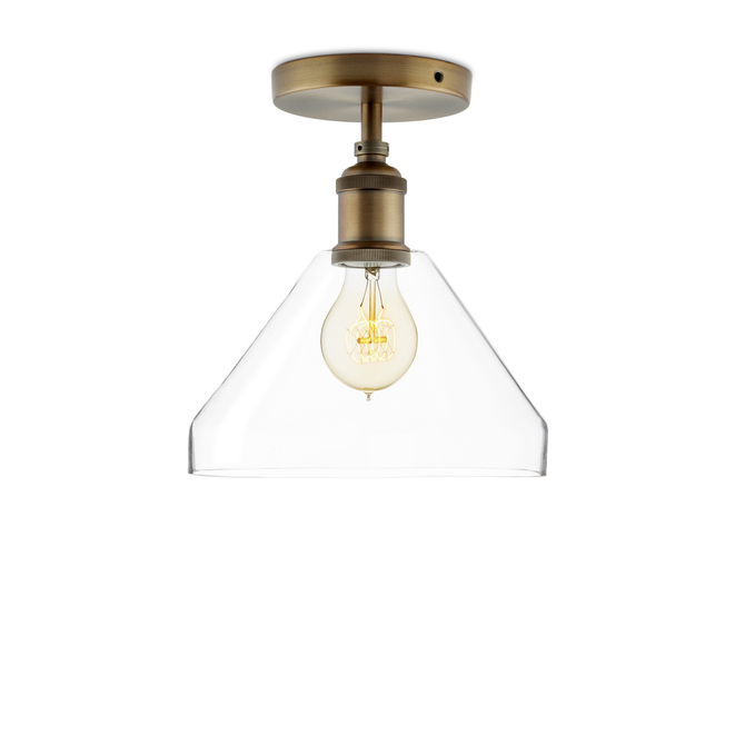 Alton Flush Mount with Tapered Glass, Bronze