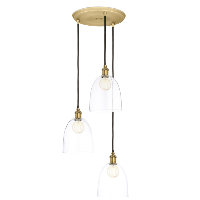 3-Light Round Canopy with Alton Pendants and Chic Dome Glass, Aged Brass