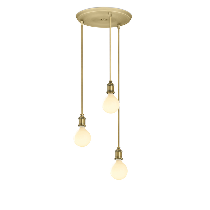 3-Light Round Canopy with 3 Alton Pendants and 3 Rod Sets, Aged Brass