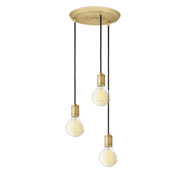 3-Light Round Canopy with 3 Arlo Pendants, Aged Brass