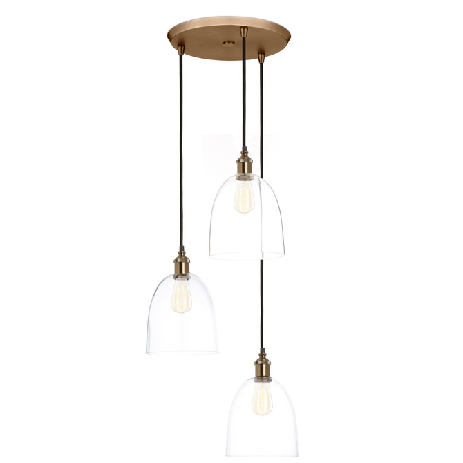 3-Light Round Canopy with Alton Pendants and Chic Dome Glass, Bronze