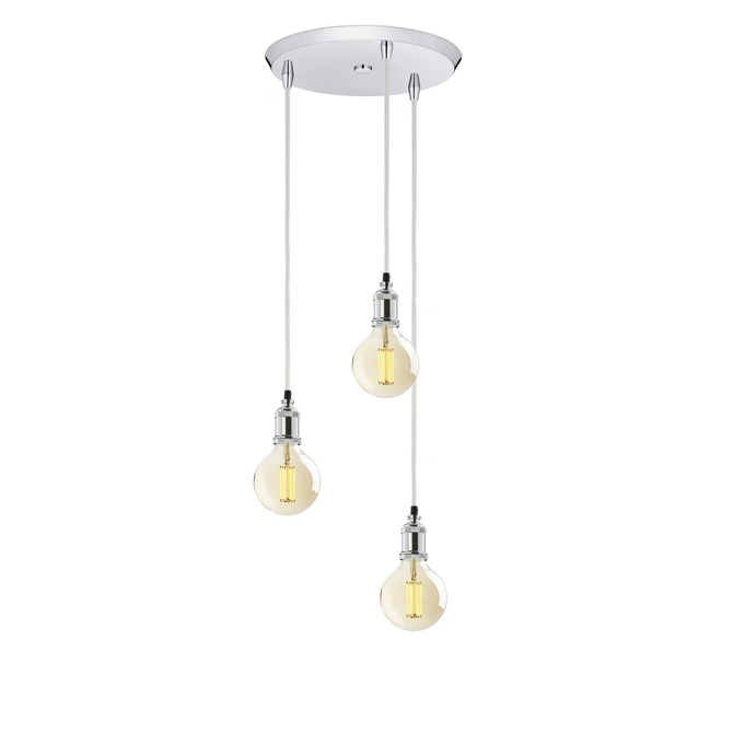 3-Light Round Canopy with 3 Alton Pendants, Chrome