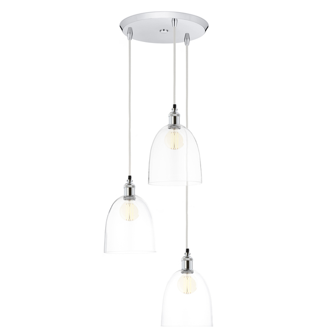 3-Light Round Canopy with Alton Pendants and Chic Dome Glass, Chrome