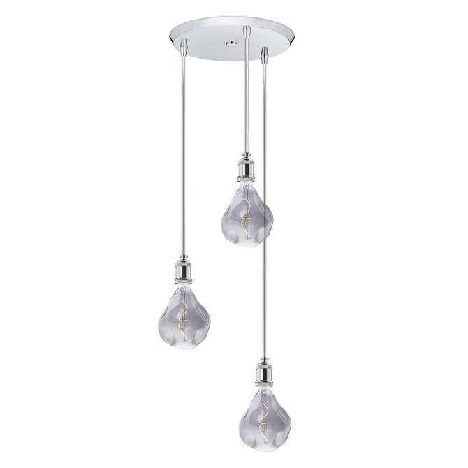 3 Light Round Canopy With Alton Pendants And Rod Sets Chrome