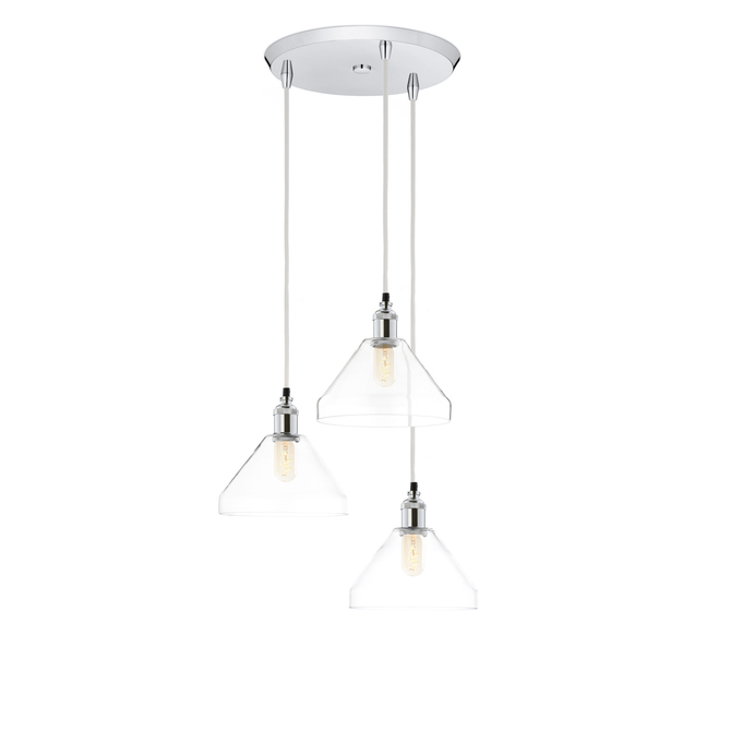 3-Light Round Canopy with Alton Pendants and Tapered Glass, Chrome