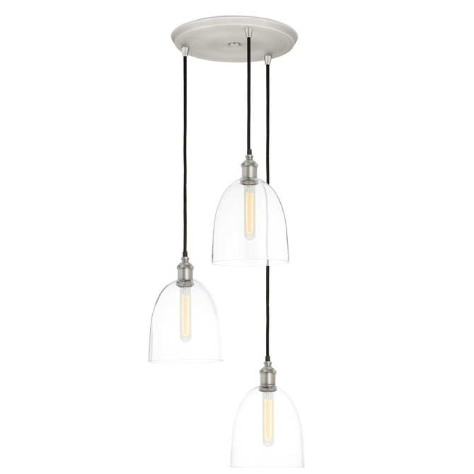 3-Light Round Canopy with Alton Pendants and Chic Dome Glass, Satin Nickel