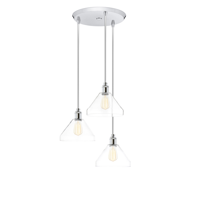 3-Light Round Canopy with Alton Pendants, Tapered Glass and Rod Sets, Chrome