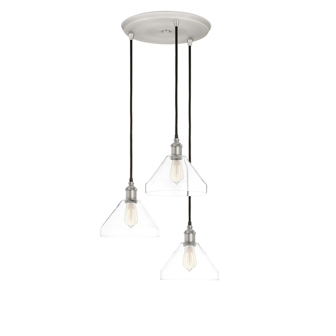3-Light Round Canopy with Alton Pendants and Tapered Glass, Satin Nickel
