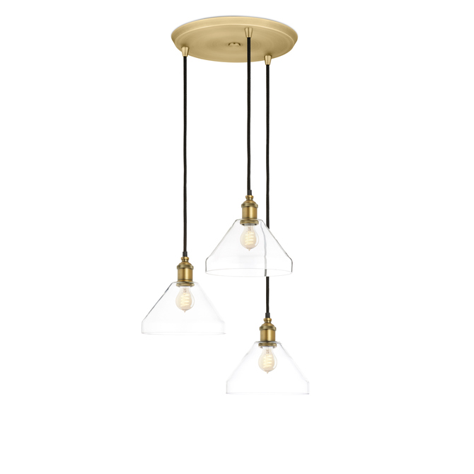 3-Light Round Canopy with Alton Pendants and Tapered Glass, Aged Brass