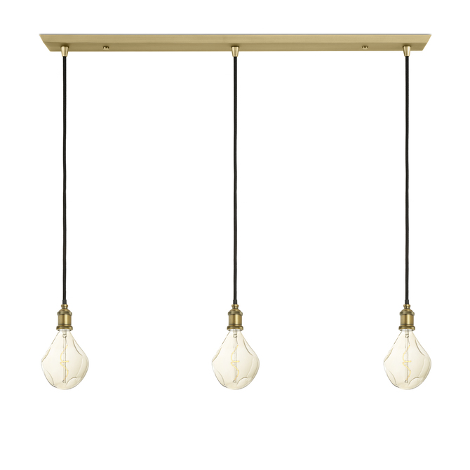 3-Light Rectangle Canopy with 3 Alton Pendants, Aged Brass