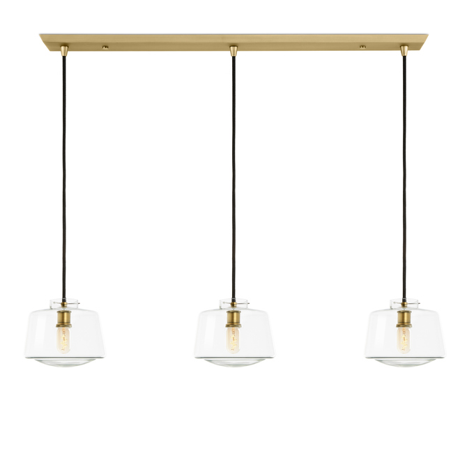3-Light Rectangle Canopy with Alton Pendants and Schoolhouse Glass, Aged Brass
