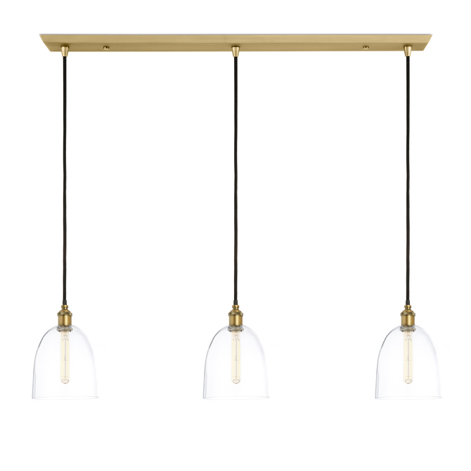 3-Light Rectangle Canopy with Alton Pendants and Chic Dome Glass, Aged Brass