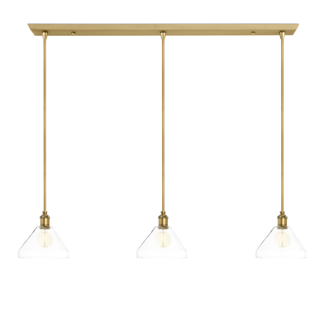 3-Light Rectangle Canopy with Alton Pendants, Tapered Glass and Rod Sets, Aged Brass