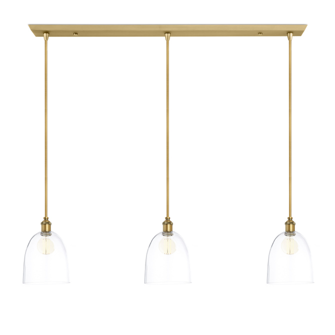 3-Light Rectangle Canopy with Alton Pendants, Chic Dome Glass and Rod Sets, Aged Brass