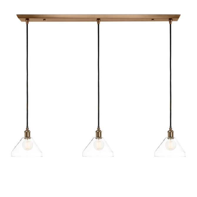 3-Light Rectangle Canopy with Alton Pendants and Tapered Glass, Bronze