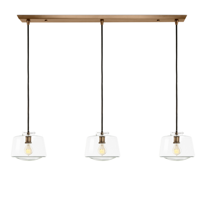 3-Light Rectangle Canopy with Alton Pendants and Schoolhouse Glass, Bronze