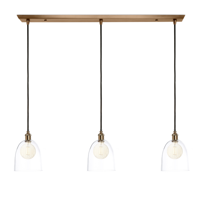 3-Light Rectangle Canopy with Alton Pendants and Chic Dome Glass, Bronze